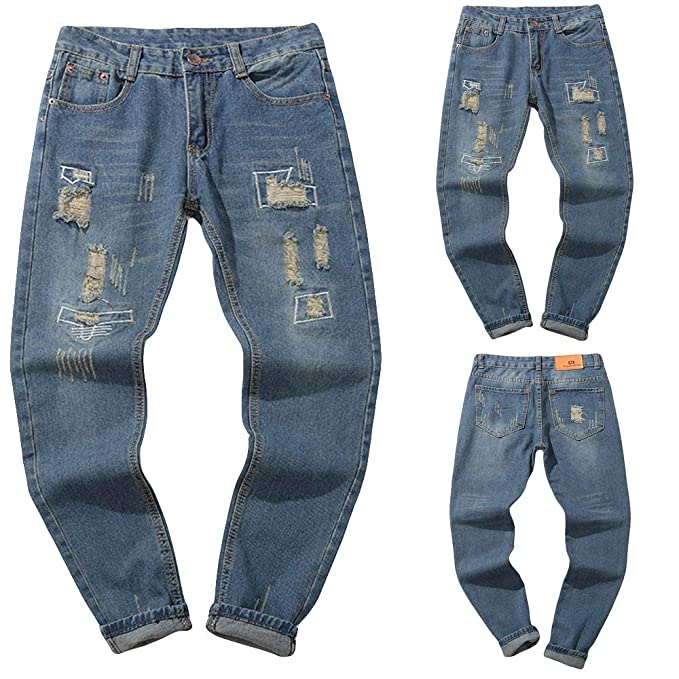Cinnamou Pantalones Largos Hombre, Pantalones Vaqueros Rotos ...