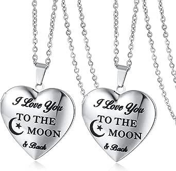 قلادة قلائد تحمل الصور - أنا أحبك إلى القمر والظهر قلادة قلادة بدلاية على شكل قلب للنساء الفتيات عيد الميلاد / الذكرى السنوية / هدية الذاكرة عيد الأم (2 حزمة)