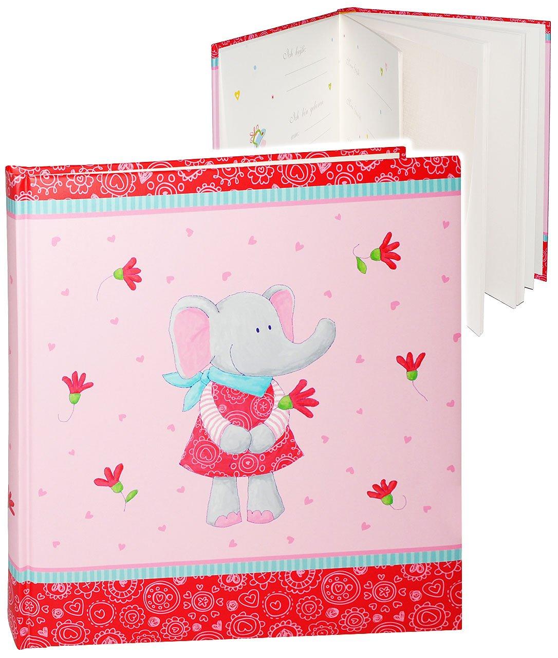 Elefant Ele BeLe /& Herzen gro/ß 60 Seiten f/ür .. blanko wei/ß Name alles-meine.de GmbH XL Fotoalbum Gebunden zum Einkleben /& Eintragen Babyalbum // erste Fotos incl