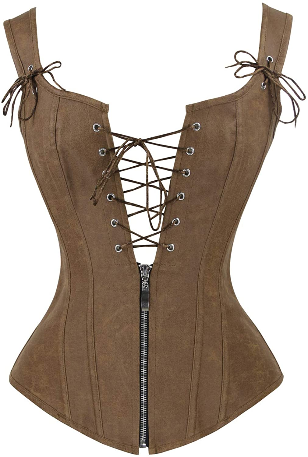 Charmian Women's Renaissance Lace Up Vintage Boned Bustier Corset with Garters at  Women's Clothing store