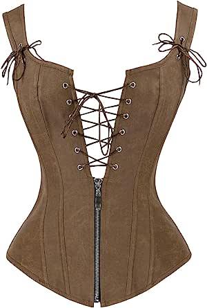Charmian Women's Renaissance Lace Up Vintage Boned Bustier Corset with Garters