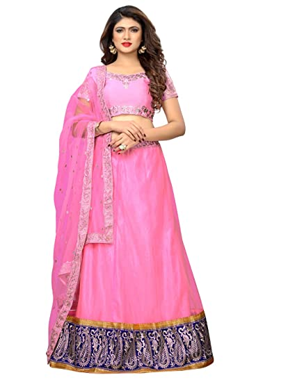 431b068fc5 MATMA FASHION Women's Banglore Silk Embroidered Lehenga Choli With Dupatta( Pink Silk_Semi Stitched): Amazon.in: Clothing & Accessories