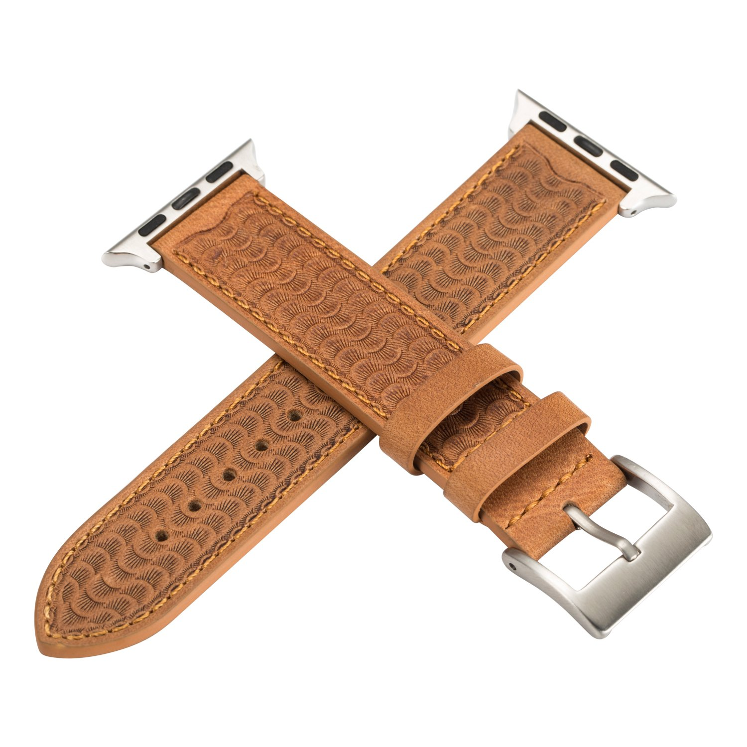 NUOYOU Apple Watch band 38mm for iWatch 38mm, Genuine Leather Relief iWatch Band Strap Stainless Metal Buckle for Apple Watch Series 3, Series 2, Series 1, Sport & Edition (Khaki,38mm)
