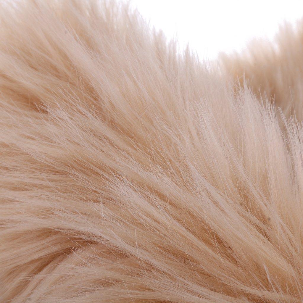 LOVIVER Modern Non-Slip Area Rug Fluffy Fur Living Room Carpets Car Cushion 40x60cm Beige