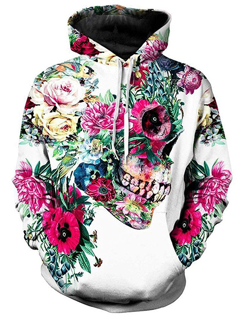 CrazyBegin Womens Unisex Autumn Winter Halloween Hoodie Long Sleeve Skull Print Skinny Pullover Hoodie