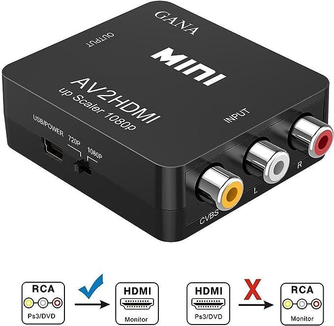 RCA a HDMI, GANA AV a HDMI Convertidor de Video Soporte 1080P con Cable de Alimentación USB para PC/Laptop/Xbox / PS4 / PS3 / TV/STB/VCR Cámara DVD -Negro: Amazon.es: Electrónica