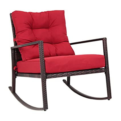 Kinbor Wicker Rocking Chair Outdoor Patio Porch Garden Chairs Rattan Lounge  W/Cushion,Red