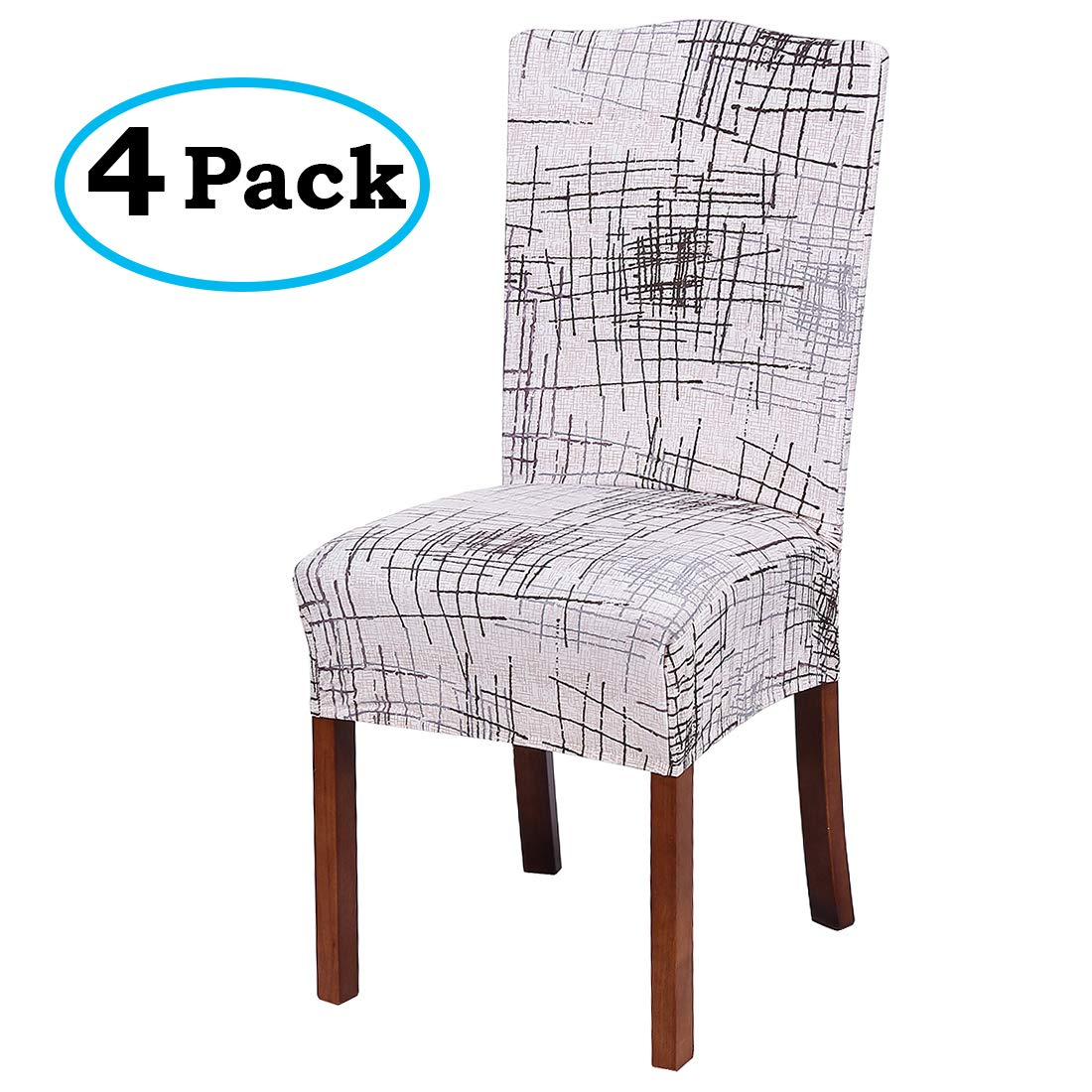 misaya Stretch Spandex Dining Room Chair Cover Removable Washable Chair Protector Flowers Painting Stool Seat Slipcover Set of 4, Beige with Stripes