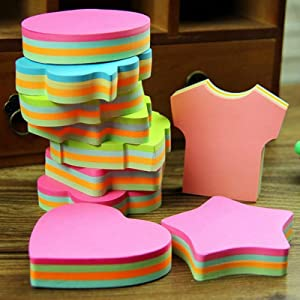 Self-Stick Removable Shaped Sticky Notes,Bright Colors,12 Pads 100 Sheets/Pad 3x3 Inches,Easy to Post for Office,Home,Notebook