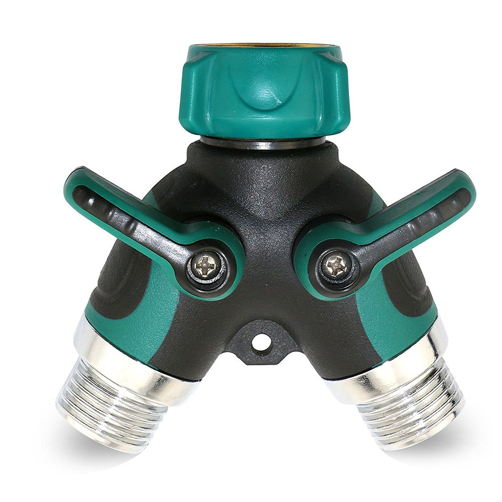 2 Way Garden Y Valve Hose Splitter Easily Converts 1 Spigot into 2 High Flow Water Sources. Made for Home Outdoor Use or Indoors for Washing Machines.