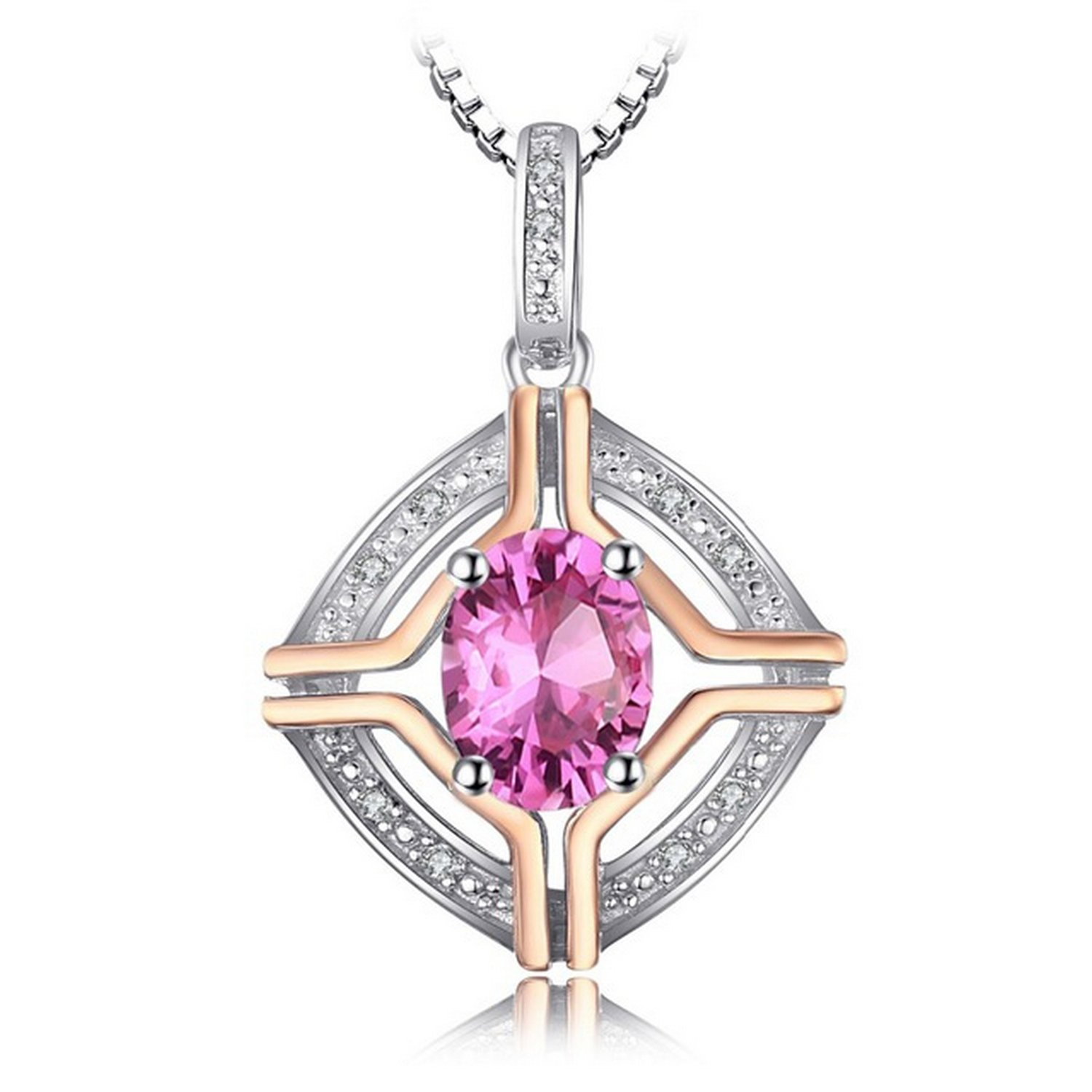 MMC 1.5ct Natural Pink Topaz Gold Tone Silver Pendants Necklaces