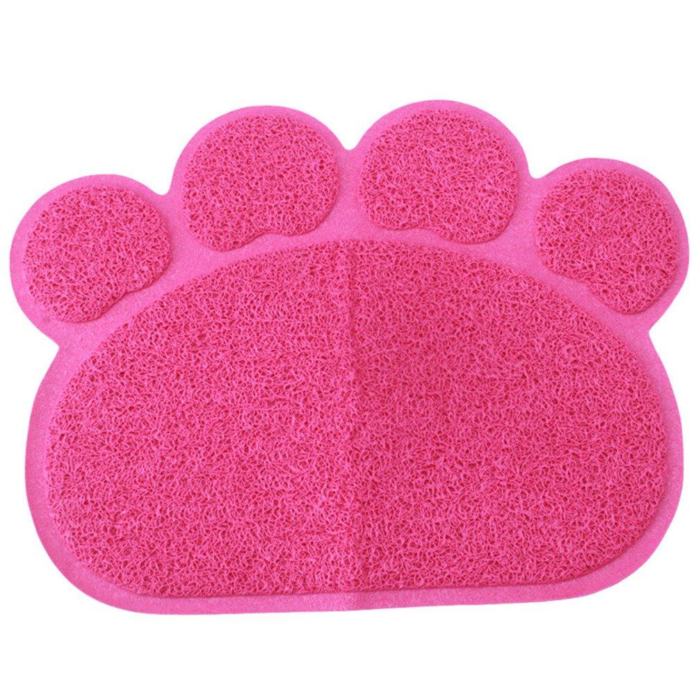 VWH Hot Pink Pet PVC Placemat Dog Mats for Food Pet Paw Shape Mat Dog Dish Dinner Food Mat