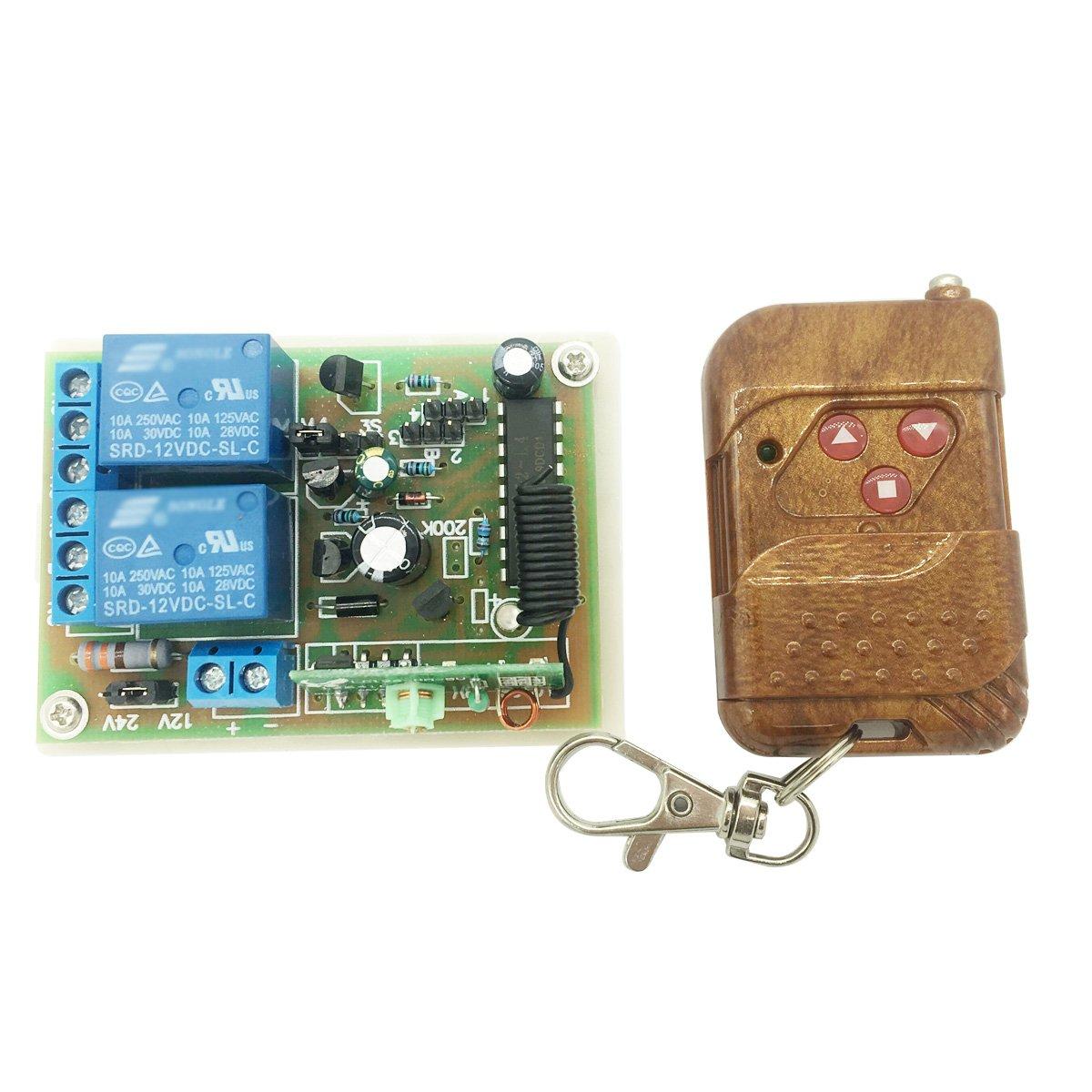 Bringsmart 12V 24V Wireless Remote Controller 2-way Receiver for DC Motor Housing Entrance Guard Machine Controller (Wireless controller)