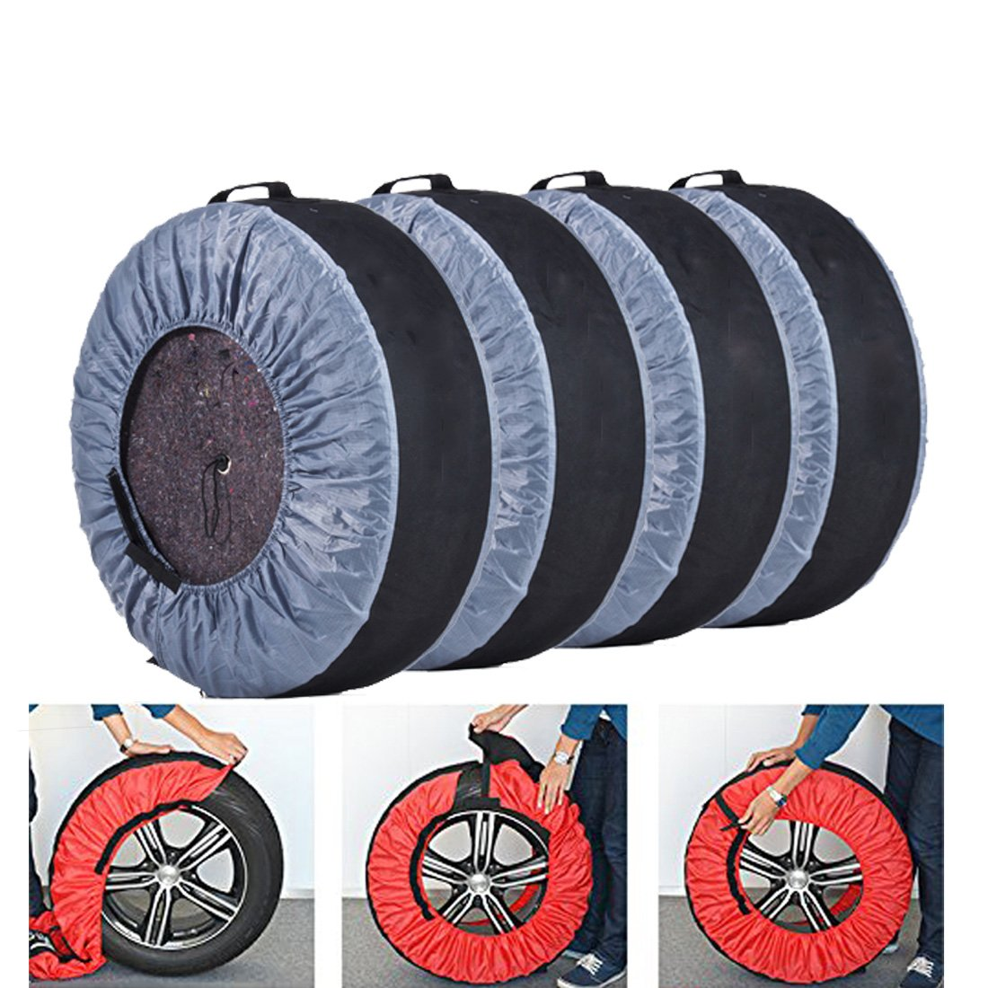 FLR Tire Tote Adjustable Waterproof Grey 30in Tire Covers Bags Seasonal Tire Storage Bag for Car Off Road Truck Tire Totes Set of 4 by FLR (Image #5)