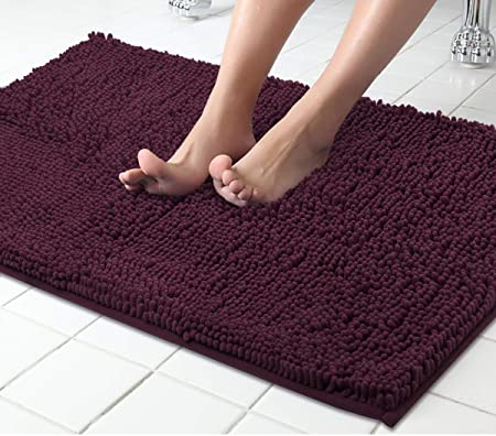 Lukzer 1 PC Chenille Microfiber Bath Mat for Bathroom Soft Door Mat Dark Purple 80 cm x 50 cm