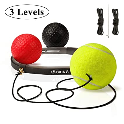 UPSTONE Boxing Reflex Ball, 3 Difficulty Levels Training Balls with Headband, Professional Boxing Equipment for Agility, Punching, Speed, Fight Skill ...