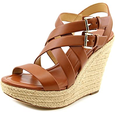 fda84a2938 Michael Michael Kors Jocelyn Espadrille Wedge Sandals Luggage (10) Brown