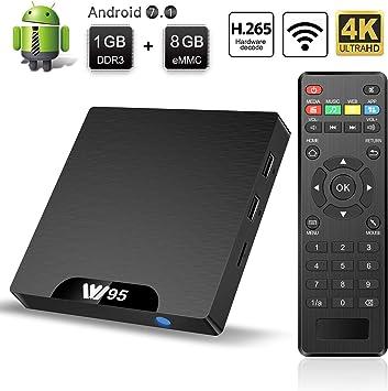 TV Box Android 7.1 - Smart TV Box Amlogic S905W Quad Core, 1GB RAM & 8GB ROM, 4K*2K UHD H.265, HDMI, USB*2, WiFi Media Player, Android Set-Top Box: Amazon.es: Electrónica