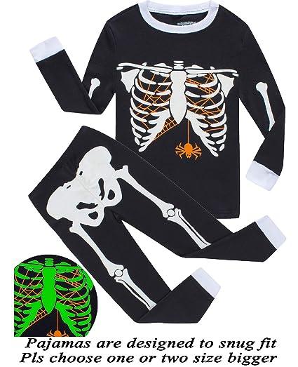 6e4eafeebf48 Amazon.com  Boys Pajamas Skeleton Glow in The Dark Halloween Girls ...