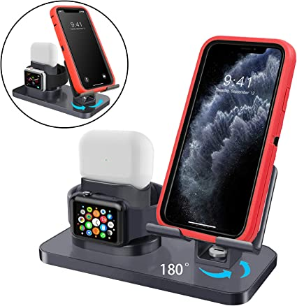 AirPods Pro//2//1 and iPhone 11//11 Pro//11 Pro Max//X//XS//XS Max//XR//8//8Plus//7//7 Plus//6S //6S Plus AICase 3 in 1 Charging Stand Compatible with iWatch Series 5//4//3//2//1