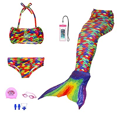 AUIE SAOSA Girl Mermaid Tail for Swimming Swimwear Cover up Sets Girls Goggles 7pcs
