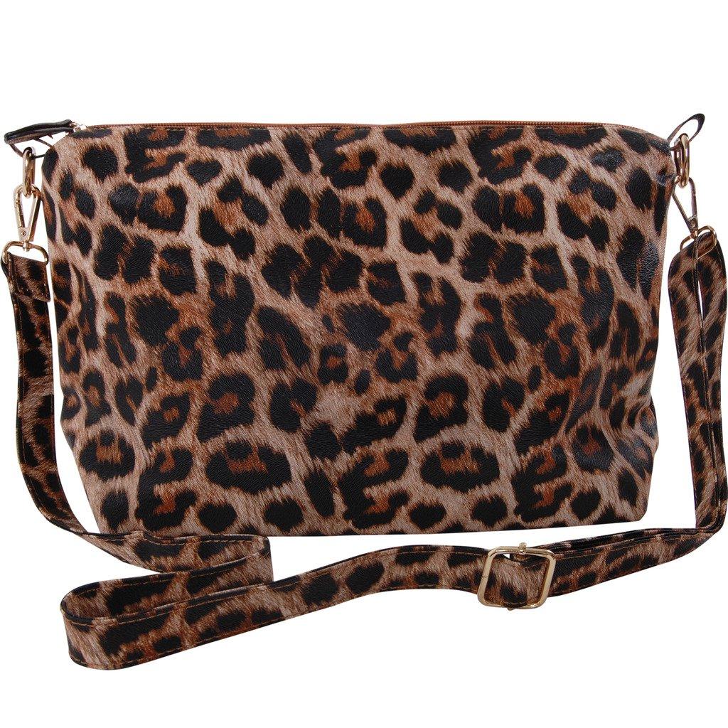 Humble Chic Crossbody Bag - Vegan Leather Satchel Messenger Hobo Handbag Shoulder Purse, Leopard, Brown