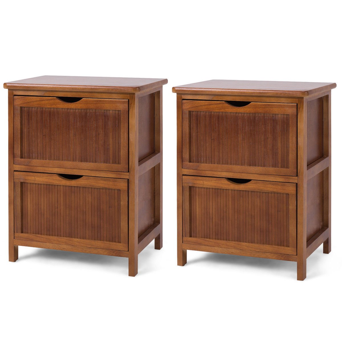 Giantex Set of 2 Night Stand End Table Wood Sofa Bed Beside Table File Cabinet Contemporary Vintage Bedroom Living Room Cabinet w/ 2 Drawers