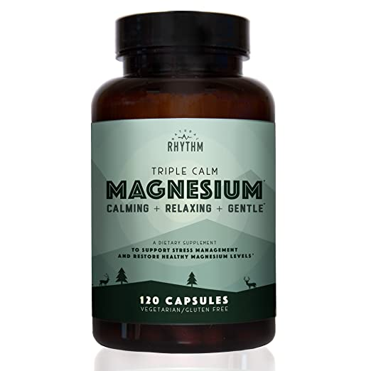 Products Every Keto Dieter Needs: a bottle of triple calm magnesium 120 capsules vegetarian and gluten free