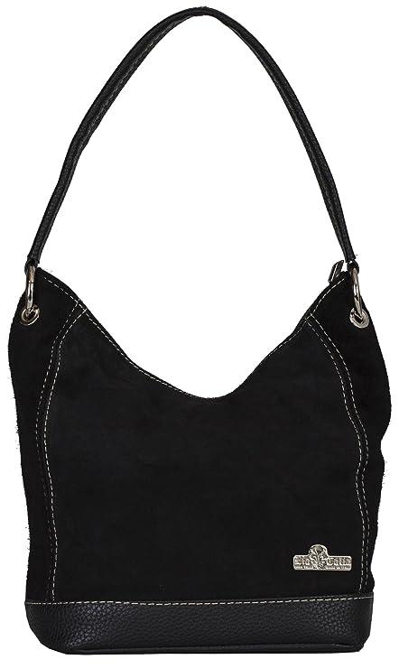 LiaTalia - Sac à bandoulière moyen en cuir suédé italien à une poignée avec sac de rangement protecteur - Denise OlwmgP8Yy1