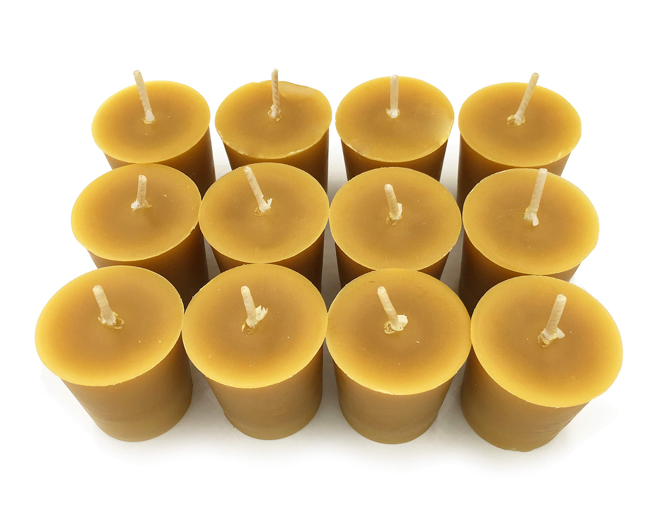 Alternative Imagination Premium 100% Pure, Natural Beeswax Votive Candles - Pack of 12