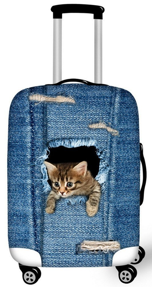 FOR U DESIGNS 2017 Nouveau étanche toile chat mignon elastique housse valises Avec fermeture éclair pour 18-28 pouce housse de protection de valise housse valise L