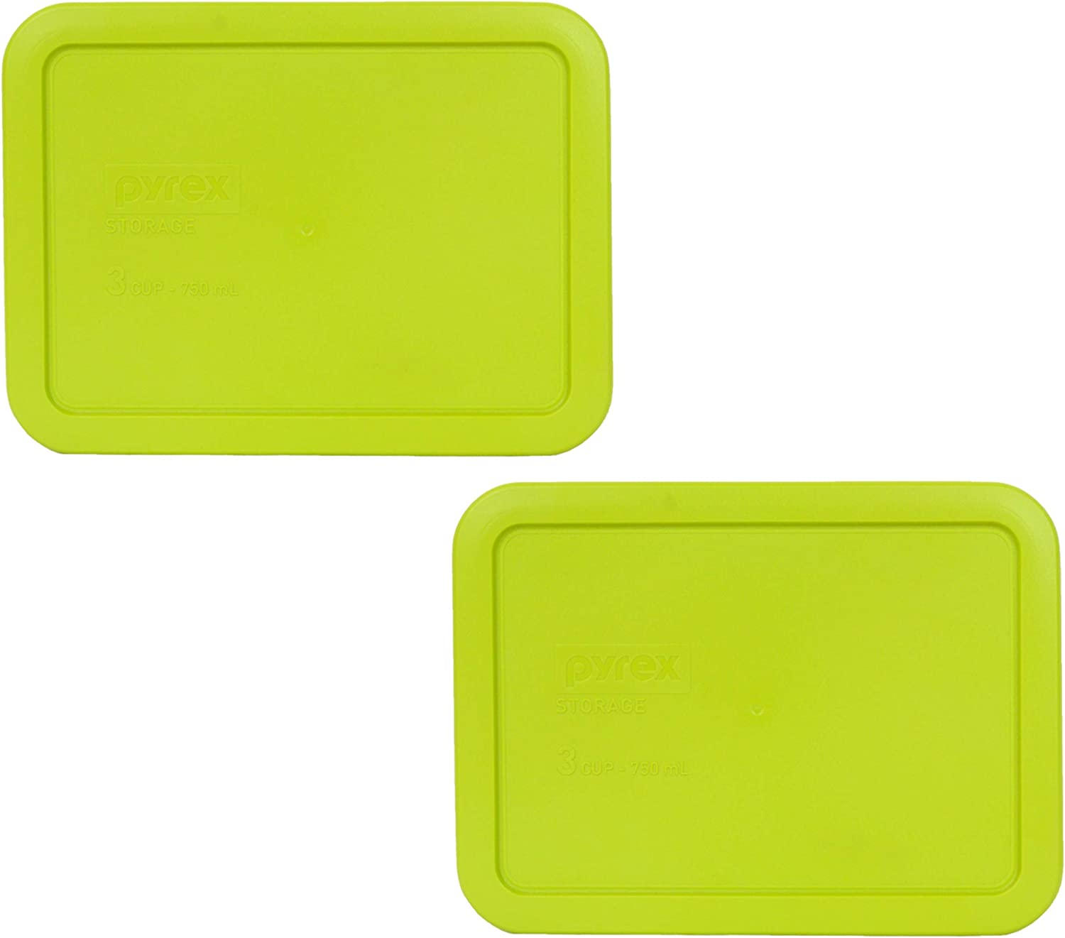 Pyrex 7210-PC 3 Cup Edamame Green Rectangle Plastic Food Storage Lid - 2 Pack