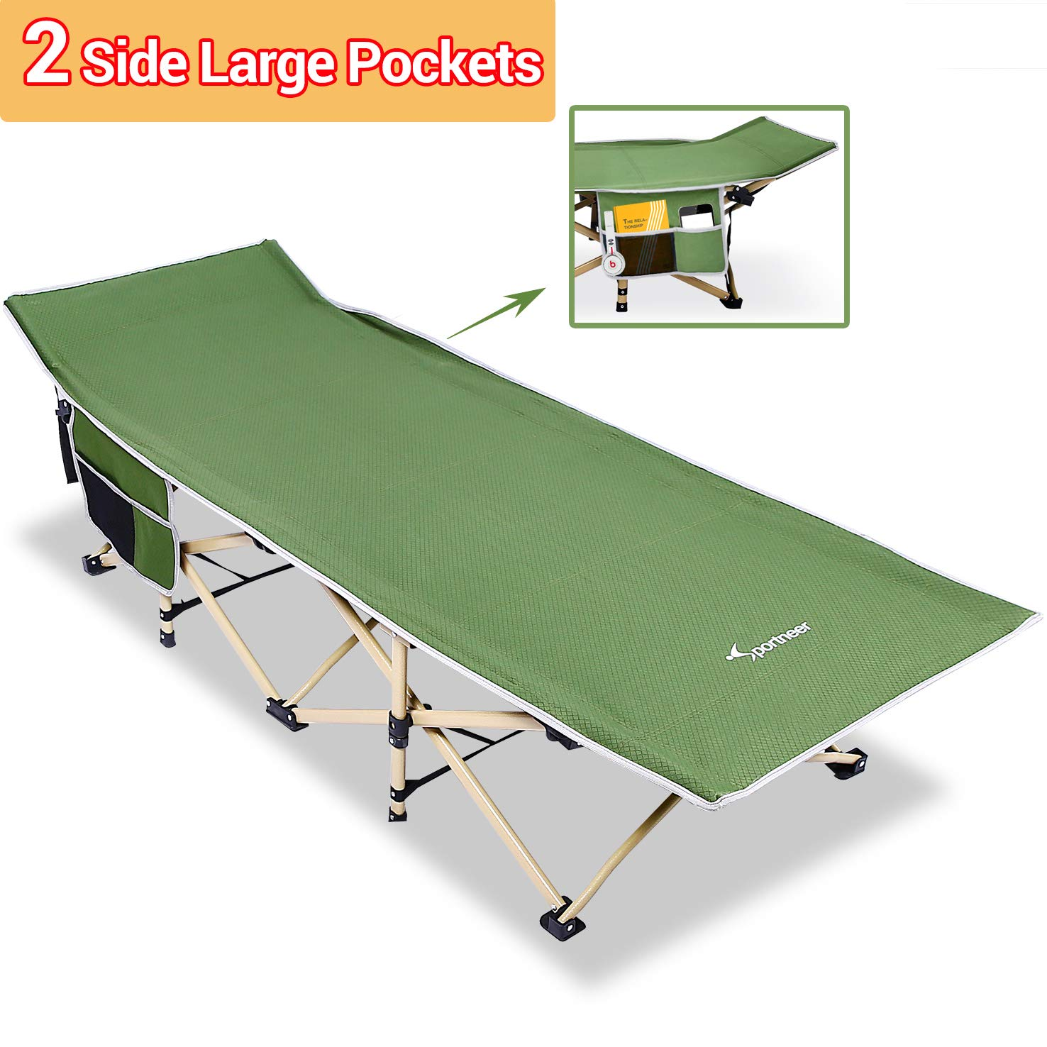 Sportneer Camping Cot, 2 Side Large Pockets Portable Folding Camp Bed Cots with Carry Bag, Max Load 450 LBS, for Camping, BBQ, Hiking, Backpacking, Beach, Office