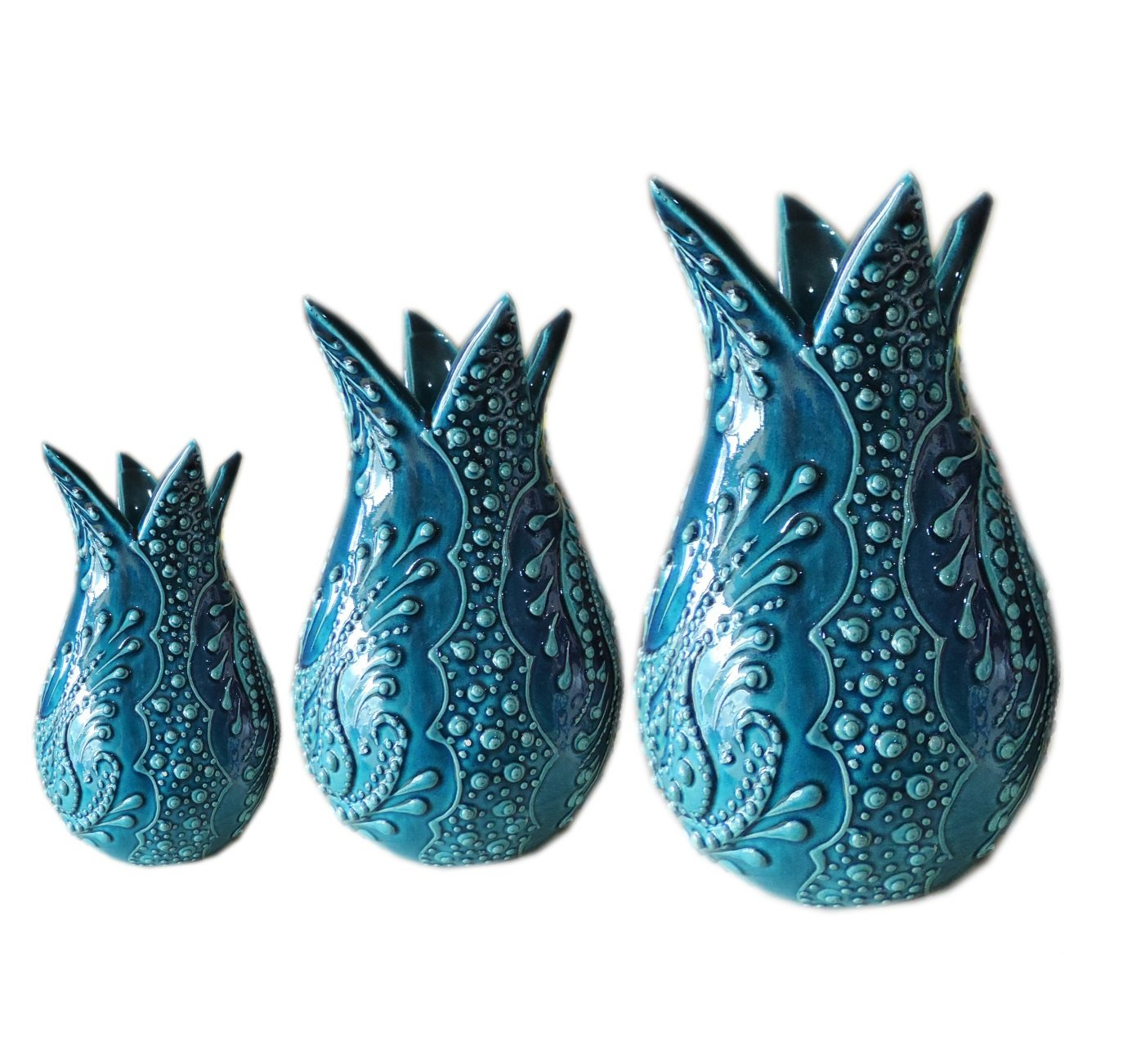 ターコイズタイルチューリップトリオハンドメイドトルコ花瓶8 cm、10 cm、12 cm B079VKB9QP