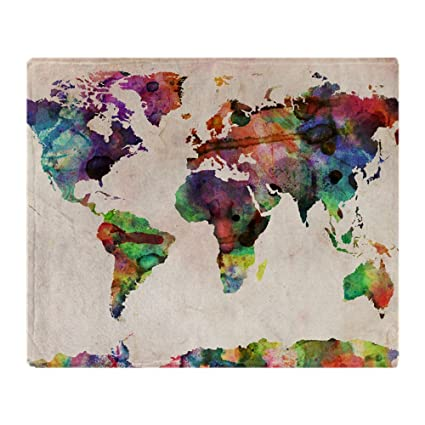 Amazon cafepress world map urban watercolor 14x10 soft cafepress world map urban watercolor 14x10 soft fleece throw blanket 50quotx60quot gumiabroncs Gallery