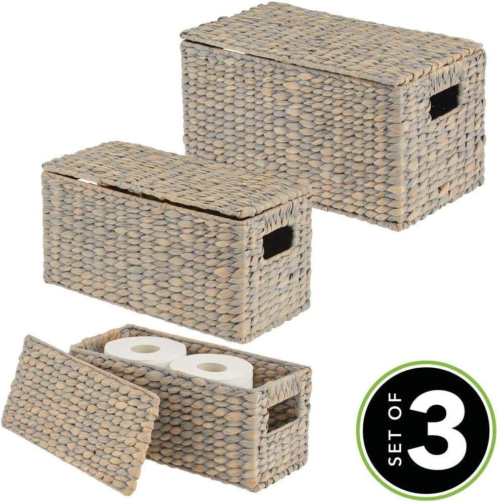stilvolle Flechtbox mit Deckel aus Wasserhyazinthe Spielzeug oder Zeitschriften naturfarben Regalkorb mit Griffen zur idealen Aufbewahrung von Kleidung mDesign 3er-Set Aufbewahrungskorb