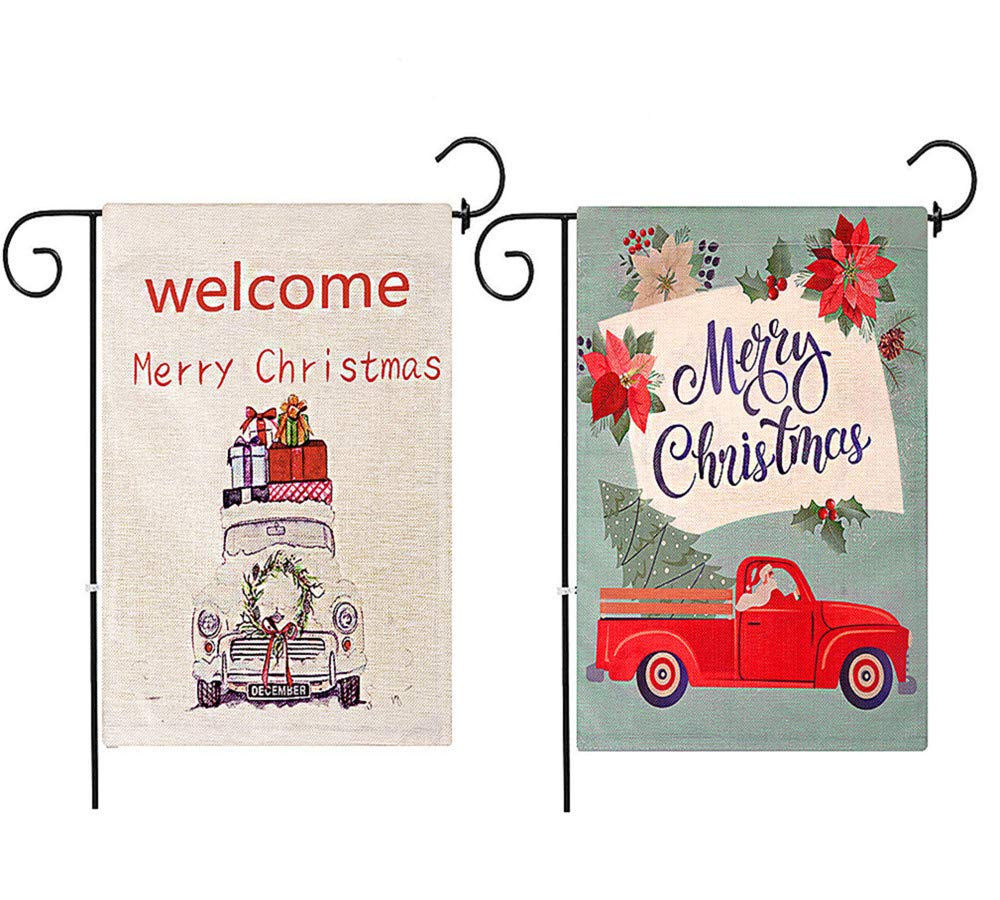Outdoor Christmas Decorations Flags,Lefetrenve Christmas Flag Double Sided Truck Set of 2 Merry Christmas Let it Snow Holidays Garden and Farm Outdoor Flag 12 x 18.