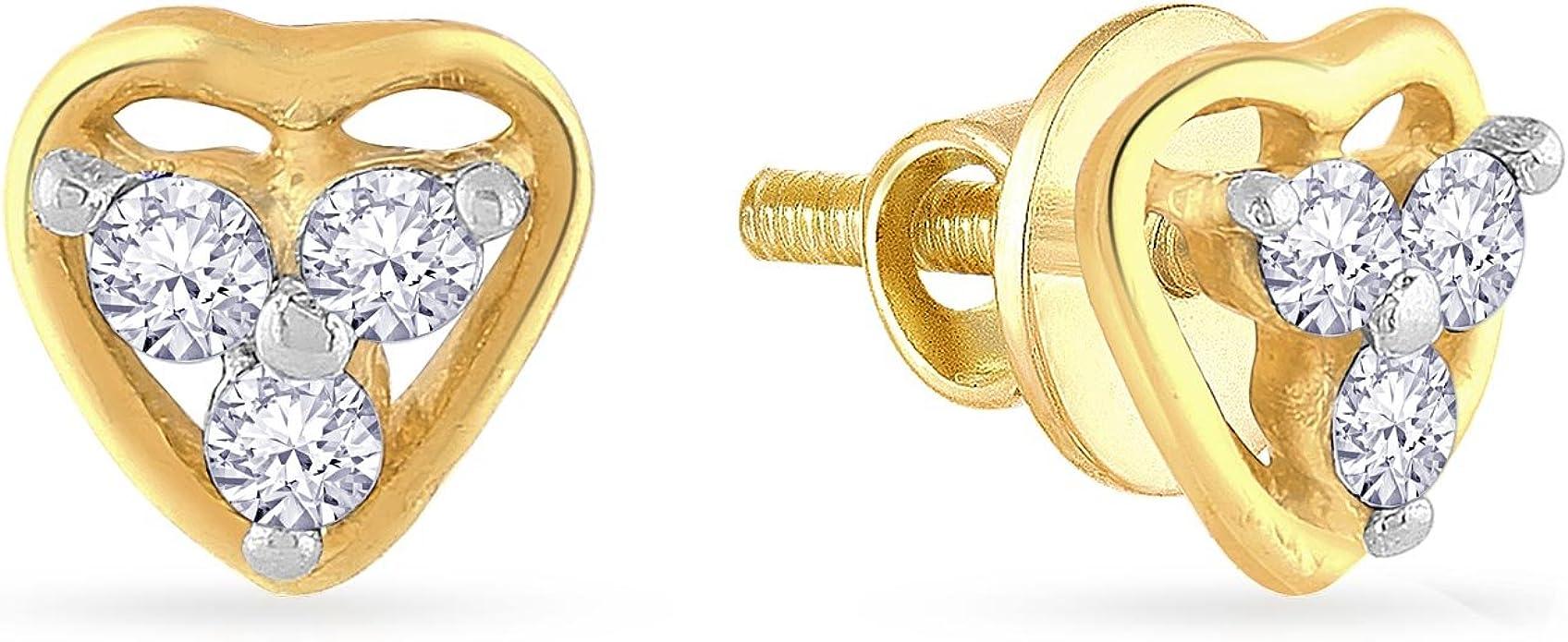 Malabar Gold  amp; Diamonds 18KT Yellow Gold and Diamond Stud Earrings for Women Earrings