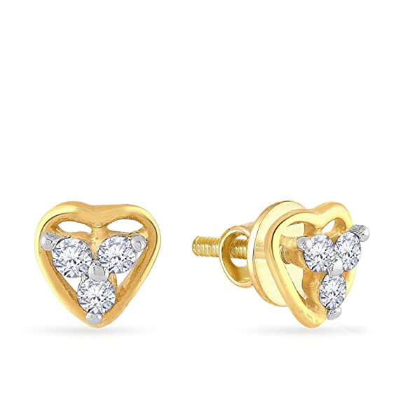 Malabar Gold  amp; Diamonds 18KT Yellow Gold and Diamond Stud Earrings for Women Earrings