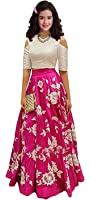 Women Wed Kids Party Wear Pink Banglory Silk Semi-Stitched Dress for Girl (Gown_Free Size_8-12 year Girl WW_ pink kids02)