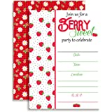 Strawberry Themed Birthday Party Fill In Invitations set of 10