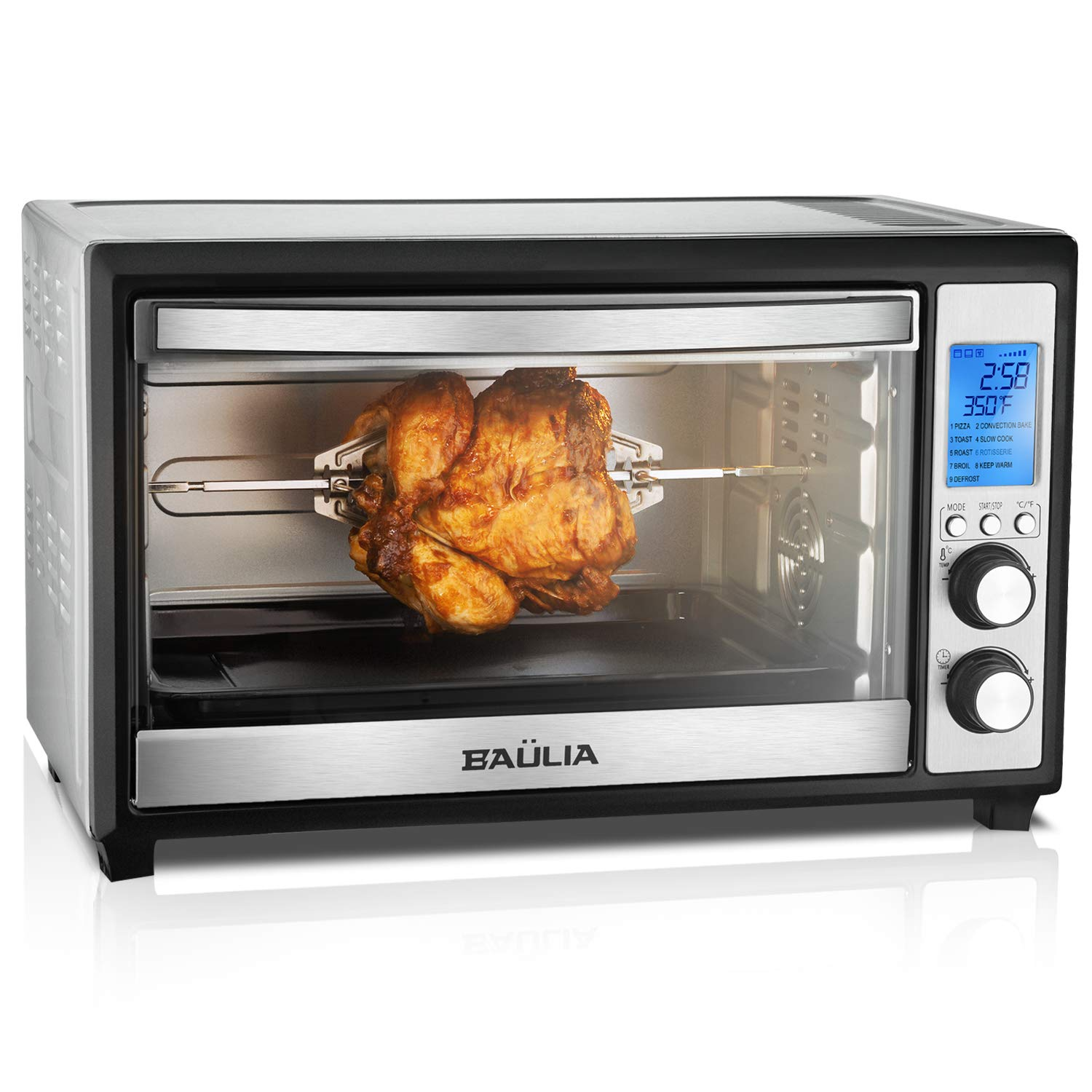 Baulia TO809 Digital Countertop Toaster Oven, 12 Inch Pizza 33 Liter Compact Convection Oven   Stainless Steel Even Heat Technology   9 Pre-programmed One-Touch Functions, 6-Slice, 1600W