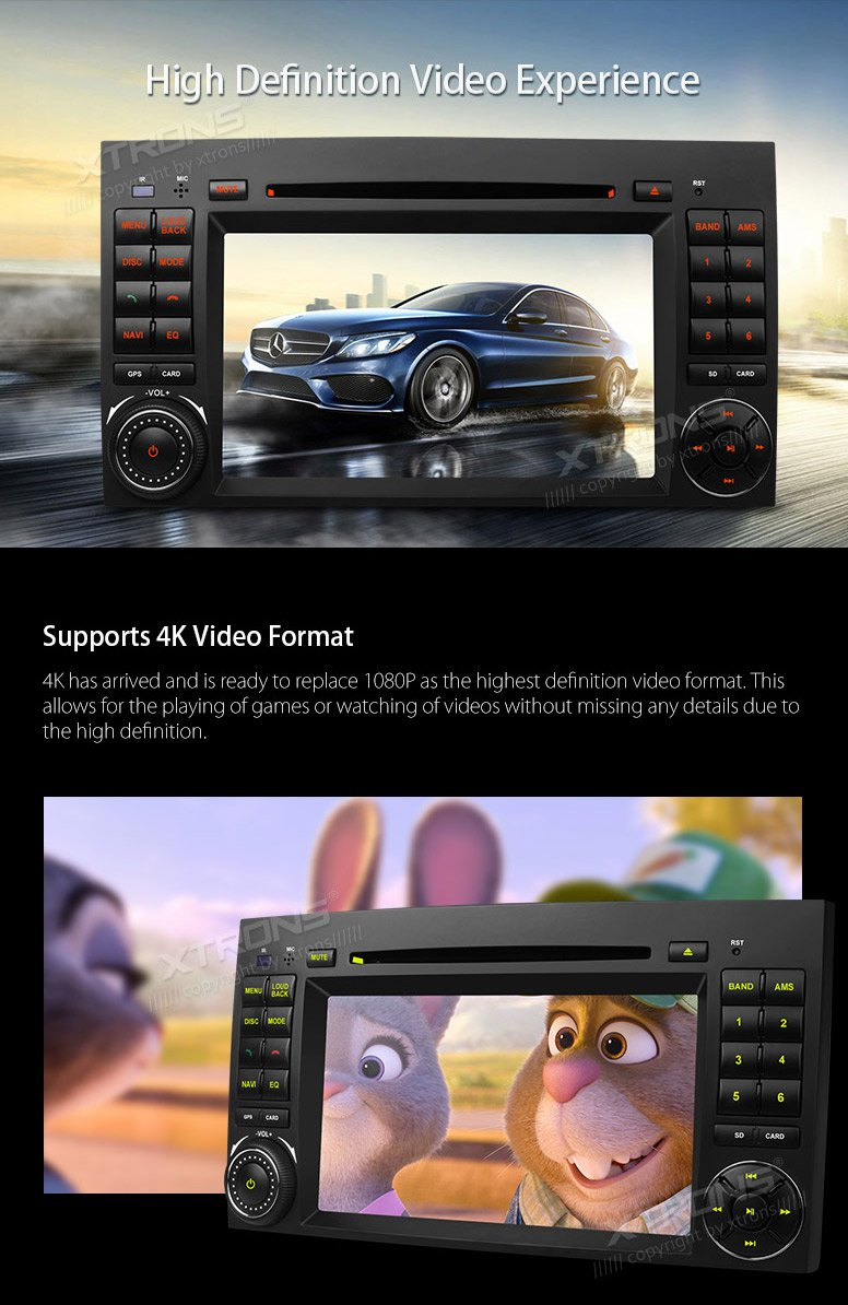 XTRONS Android 6.0 Octa-Core 64Bit 2G RAM 32GB ROM 7 Inch Capacitive Touch Screen Car Stereo Radio DVD Player GPS CANbus Screen Mirroring Function OBD2 Tire Pressure Monitoring for Mercedes-Benz by XTRONS (Image #5)