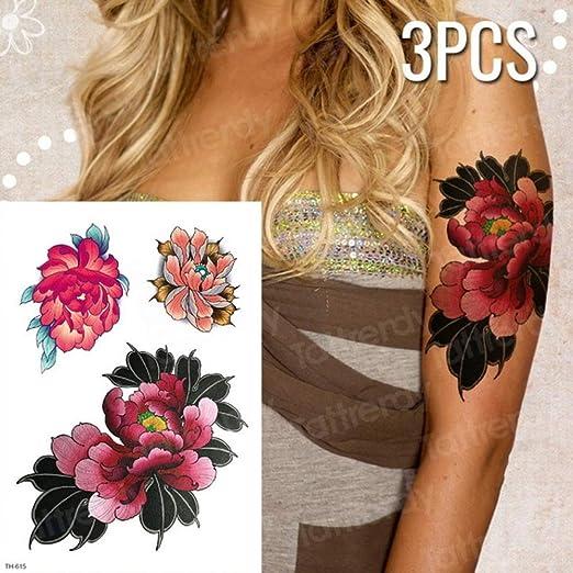 Handaxian 3pcs Tatuaje Mujer Impermeable Flor Tatuaje Flor de Loto ...