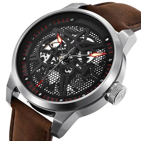 GAOY Watch Relojes Hombres Reloj Hueco Esqueleto Cuero Mecánico Impermeable Reloj Multifuncional,C