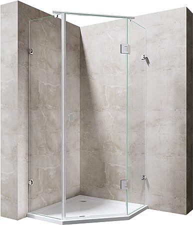 doporro Cabina de ducha Pentagonal Ravenna42 100x100x192cm mampara de vidrio templado de 8mm de seguridad ESG transparente | Incluye plato de ducha plano de 4cm en blanco con válvula de desagüe automático