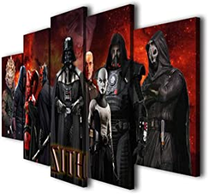 JESC 5 Panels Painting Sith Lords Movie Printed on Canvas Wall Art Picture for Home Décor