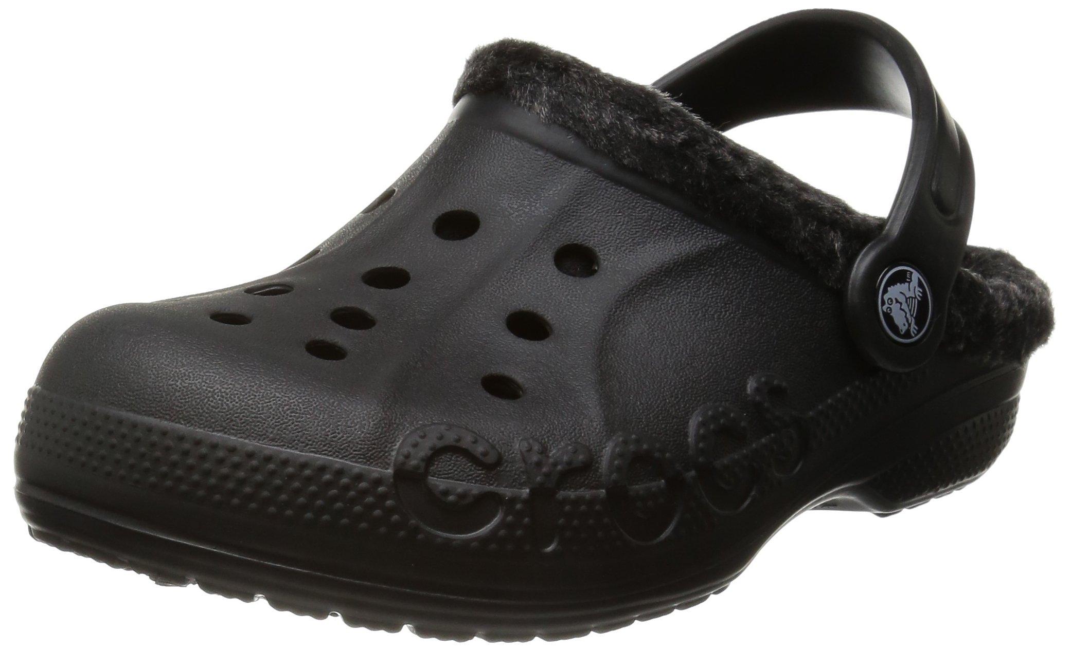 crocs Baya Heathered Lined Clog (Toddler/Little Kid), Black/Black, 8/9 M US Toddler