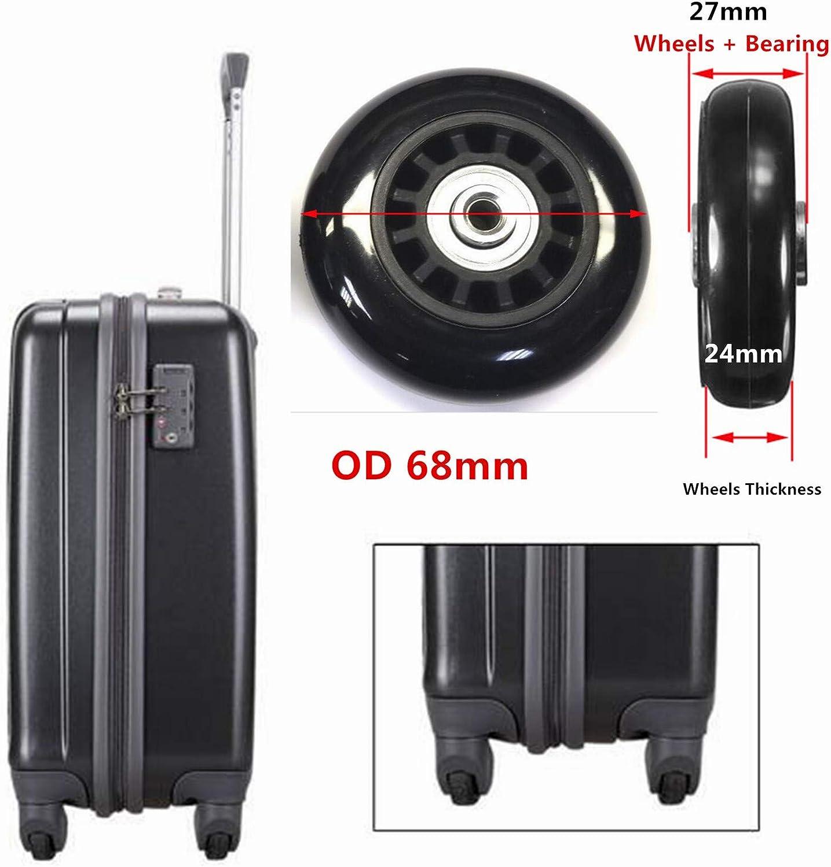 Miayaya 4 bagages Valise r/éparation Roues en caoutchouc Roues de rechange muettes pour valises /à bagages remplacement Roues OD 50mm 50mmX18mmx6.1mm