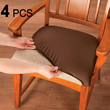 Voilamart Dining Chair Seat Covers Stretch Removable Washable Dining Chair  Cover Slipcovers Soft Chair Protectors Chair Seat Cushion Slipcovers - Pack  ...